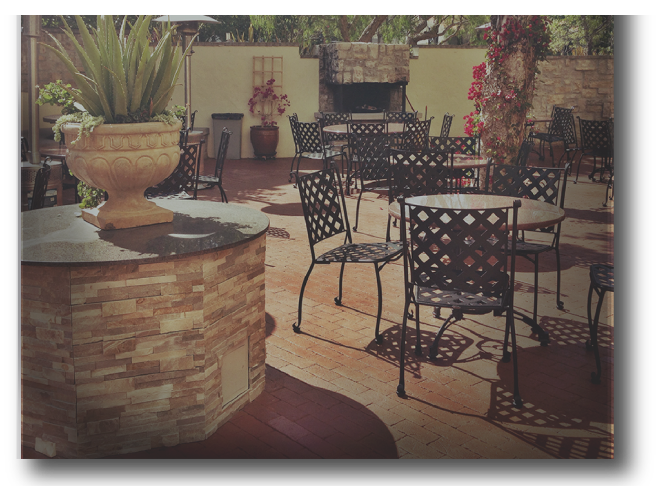 More outdoor seating and fireplace